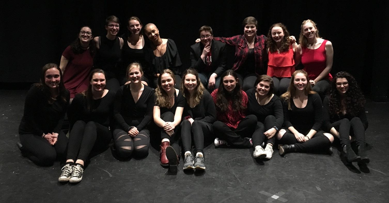 Performers and tech crew for The Vagina Monologues.