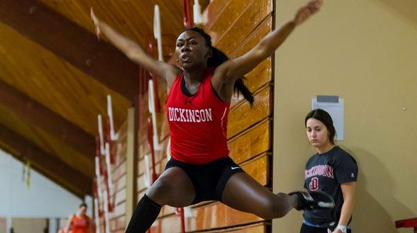 Imani Beard '17 during the Dickinson women's track team annual DuCharme Invitational event.