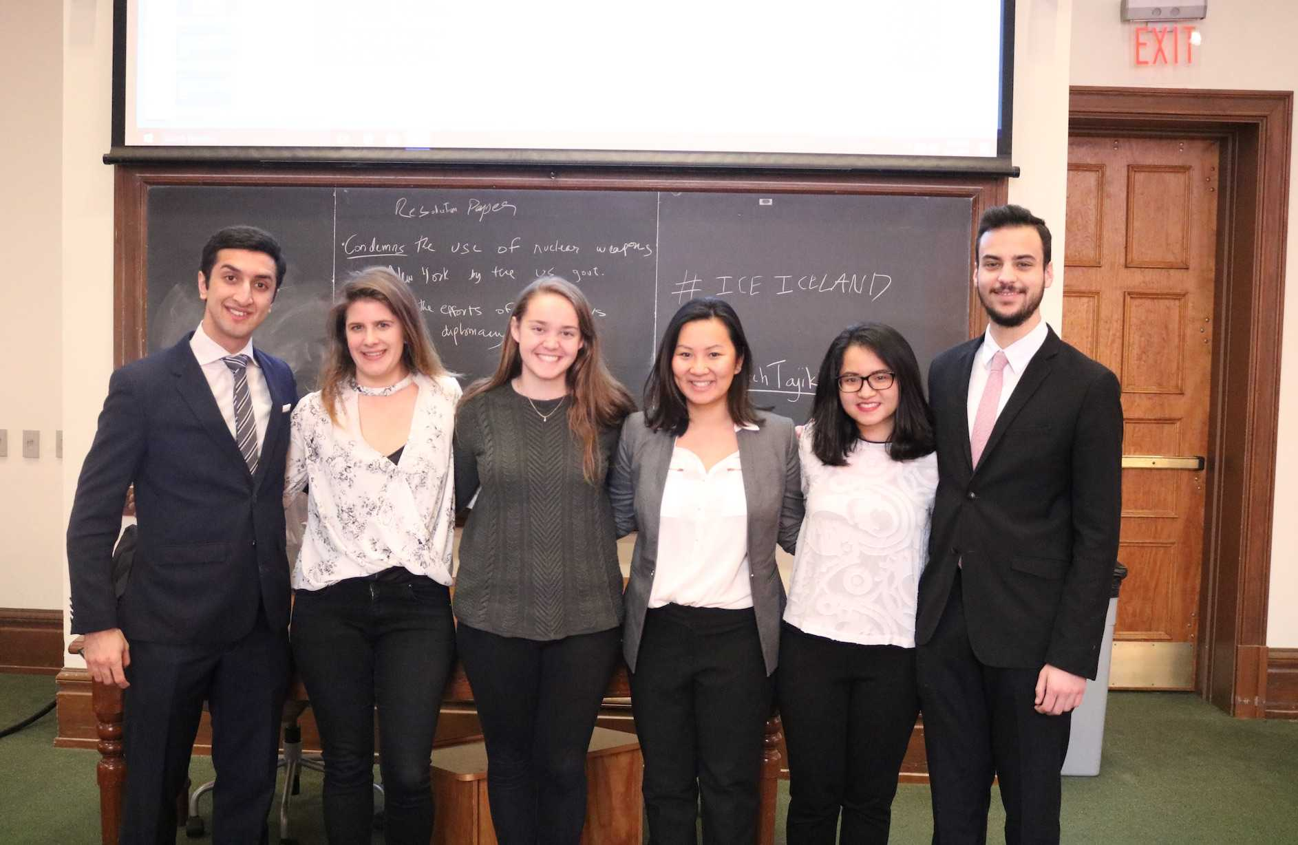 The executive board of MUN from left to right: Abdullah Rumman '20, Zita Petrahai '18, Alyssa Morrissey '20, Meagan Dashcund '18, Anh Nguyen '18 and Daniel Duchaine '18.  Missing: Gaby Fleming '19.