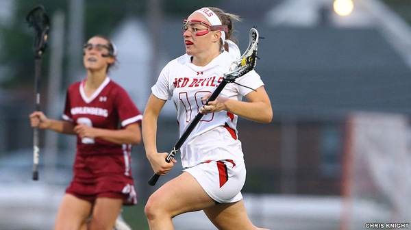 The Dickinson women's lacrosse team earned its first victory of the season in a blowout win over Mount Union University on Saturday afternoon, March 4.