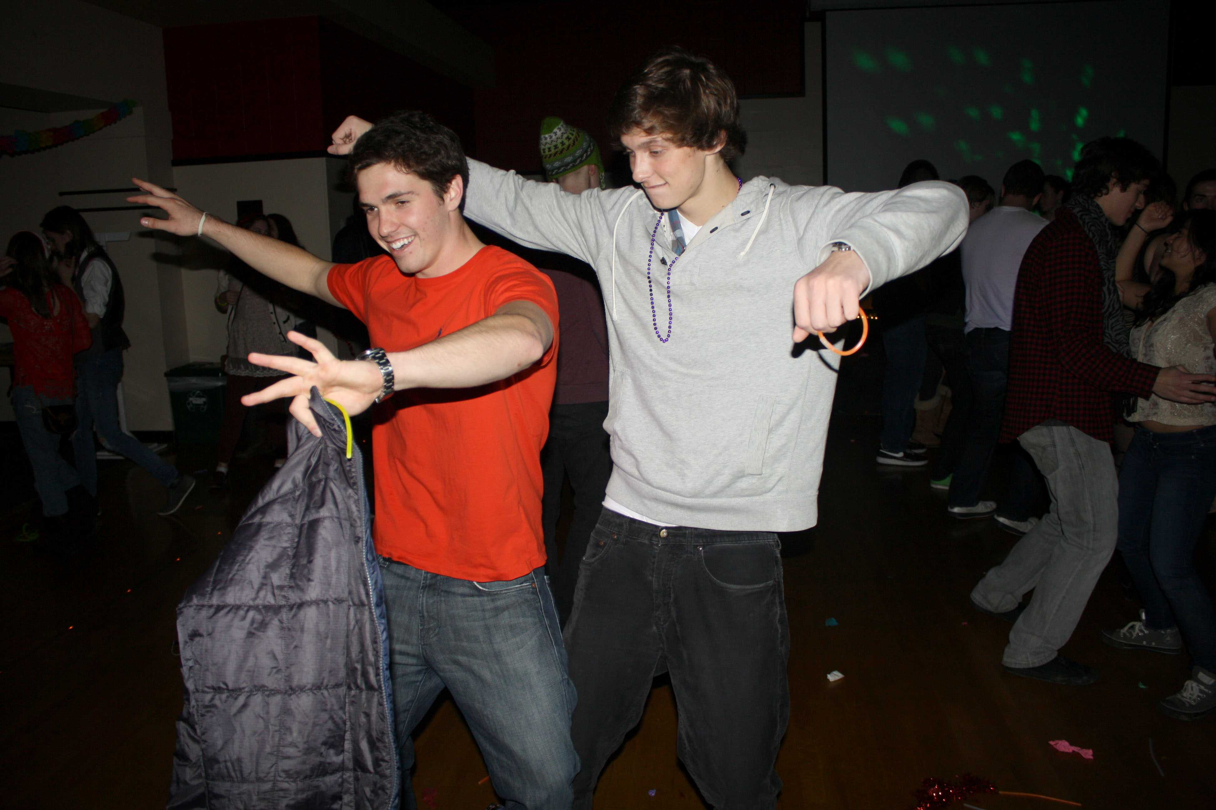 Two students enjoy themselves at the final dance at The Depot, held on Saturday, December 1.