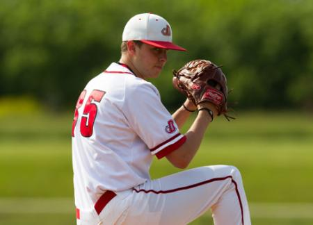 Harley Moore '15 went the distance and struck out 12 in a 9-2 win over Lancaster Bible College.