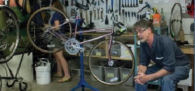 Bikes get repaired at the Handlebar, the teach-yourself-bike repair shop