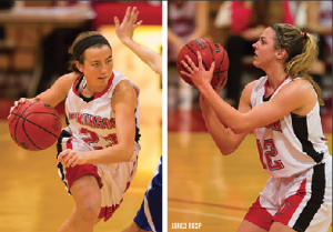 Kelsey Walsh '17 (left) and Mary Martin '17 (right), both guards, are two of the four first-years that Head Coach Dina Henry  is starting for the 1-5 Red Devils.