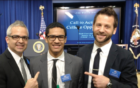 In a photo published on the Dickinson College website provided by Brett Kimmel, principal of Washington Heights Expeditionary Learning School, Estiven Rodriguez '18, attended President Obama's speech on Jan 16.