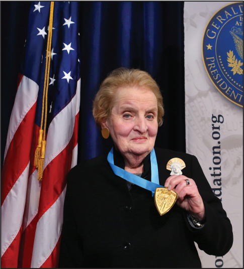 Former Secretary of State Madeline Albright, above receiving an award, will serve as the commencement speaker for the 2014 graduating class.