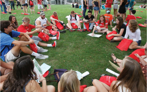 An Orientation Group sits with their Orientation  Assistant, now called First-Year Mentor, during the  Class of 2017 First Year Orientation.