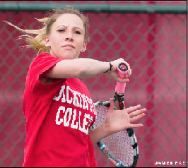 Shannon Lavery '14 battled in doubles and singles matches, but  the team dropped 1-8 to Swarthmore.