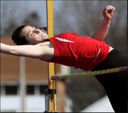 Sophomore Rikka Olson tied the meet record in the Pole Vault for the victorious Red Devils.