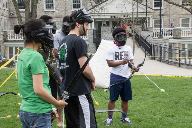 Students learn and participate in an archery event at last year's Springfest on Morgan Field.