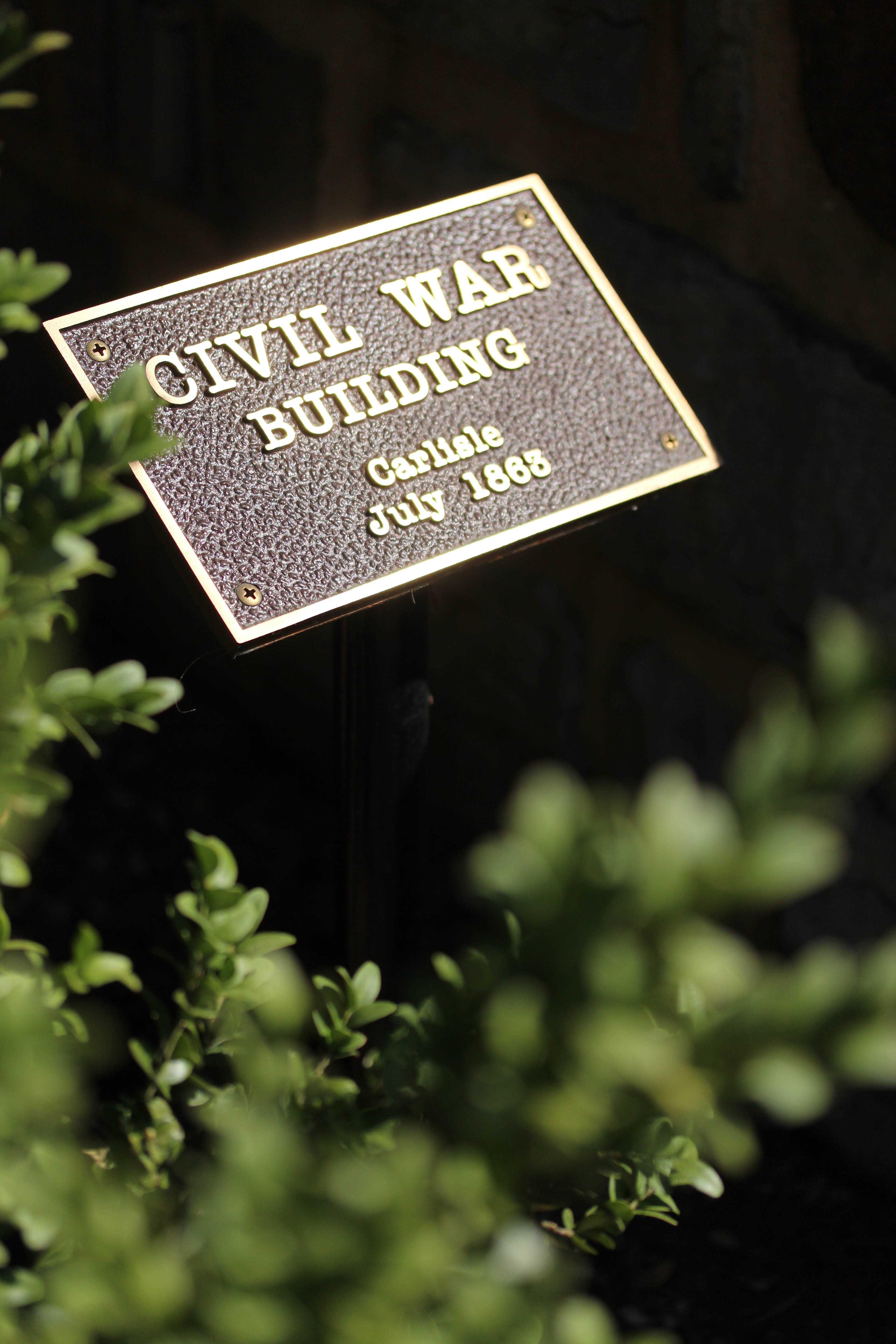 This plaque designates Old West as one of several Civil War era buildings on Dickinson's campus.