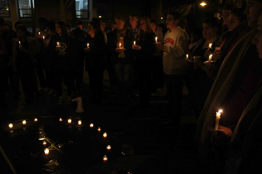 More+than+100+students+gathered+on+Britton+Plaza+on+Monday%2C+Nov.+16+to+commemorate+terrorist+attacks+that+took+place+across+the+world+on+Nov.+13