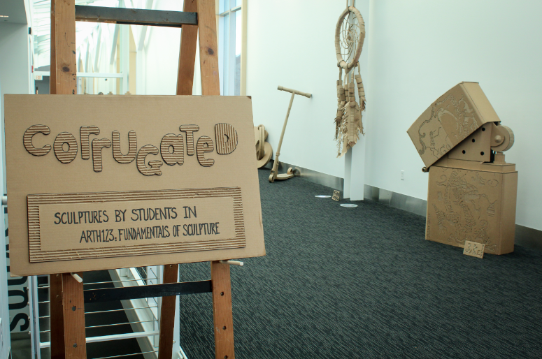 Corrugated+cardboard+sculptures+by+students+have+been+moved+from+the+library+to+the+Kline+lobby.