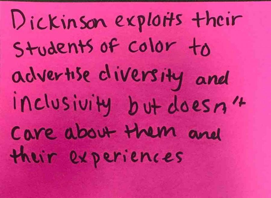 Posters+were+displayed+throughout+the+HUB+with+anonymous+statements+about+instances+of+bias+and+discrimination+based+on+race%2C+sexuality%2C+gender+expression+and+mental+health+on+Dickinson%27s+campus.