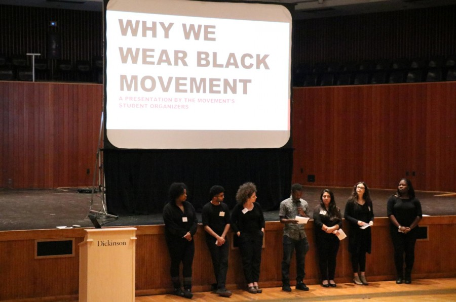 Members+of+the+Why+We+Wear+Black+Movement+presented+their+requests+for+reforms+at+an+open+forum+held+in+ATS+on+Jan.+31.+Over+150+students+and+faculty+members+attended.