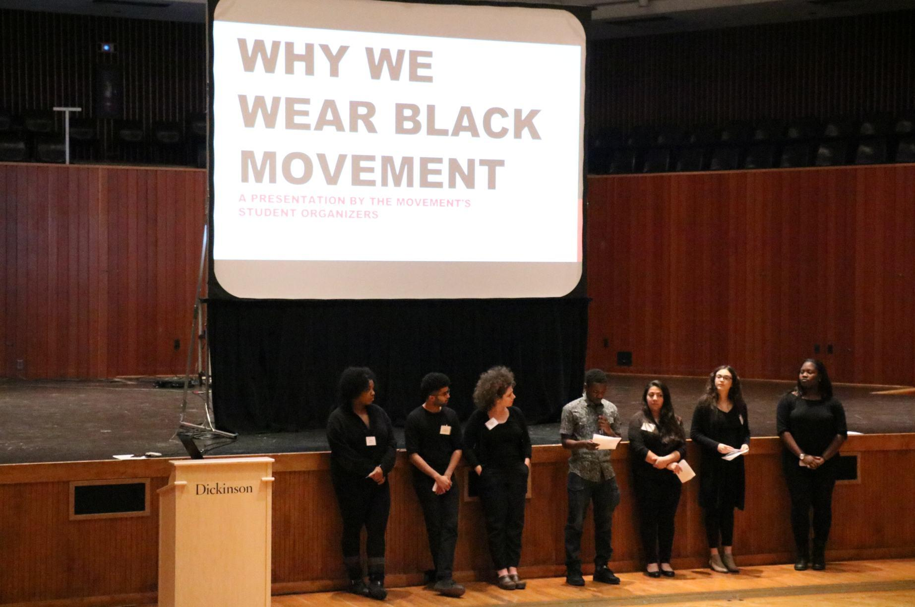 Members of the Why We Wear Black Movement presented their requests for reforms at an open forum held in ATS on Jan. 31. Over 150 students and faculty members attended.