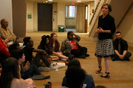 Attendees look on as Associate Professor of Spanish Mariana Past spoke about how the movement influenced her classroom discussions.