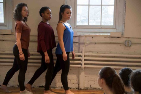 "Dancers rehearse choreography for the final Weiss Prize performance entitled ""Mouthpiece."""