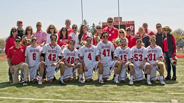 The Dickinson men's lacrosse team overcame a close loss to Gettysburg with a Senior Day win against Swarthmore on Saturday, April 15.