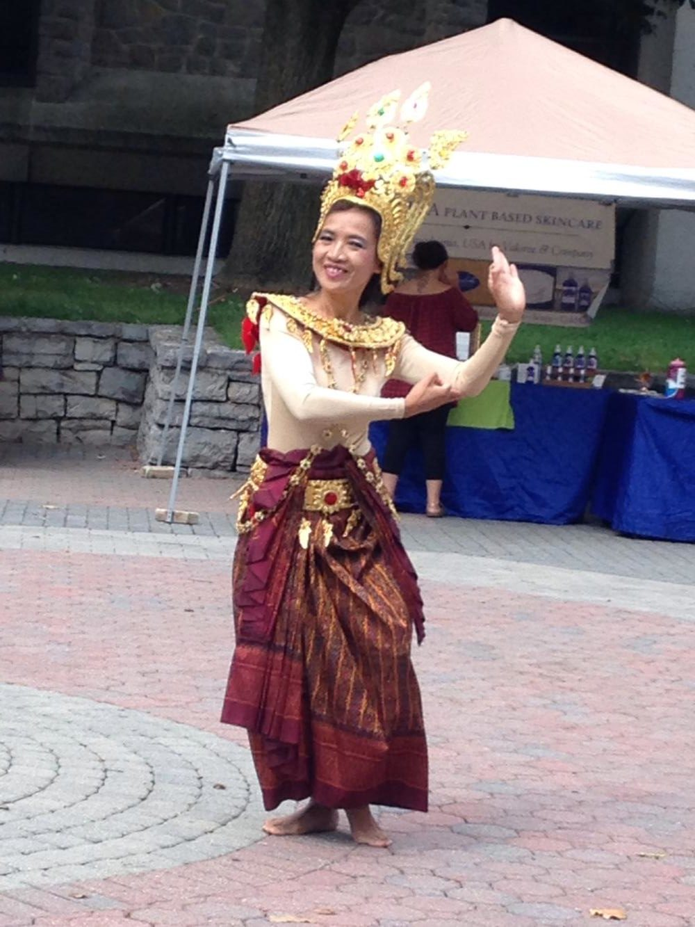 A dancer on Britton Plaza during the Loving Kindness Festival last weekend.