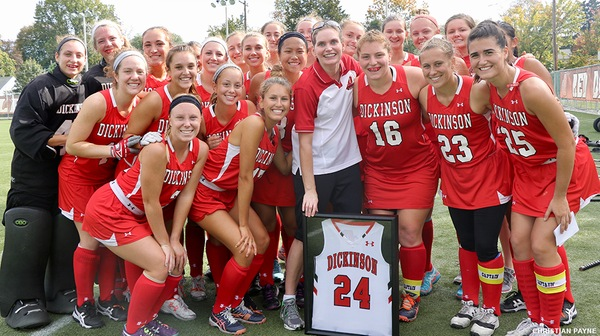 The Dickinson field hockey team played their heats out on Saturday but still lost their homecoming matchup against Washington College, 3-2.