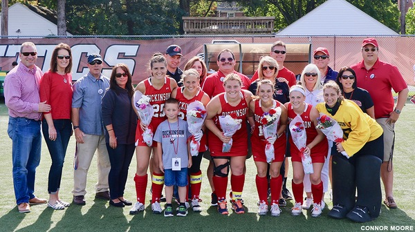The Dickinson field hockey team won a 3-2 victory over Juanita last Wednesday but lost to Haverford, 3-2, on Senior Day on Saturday.