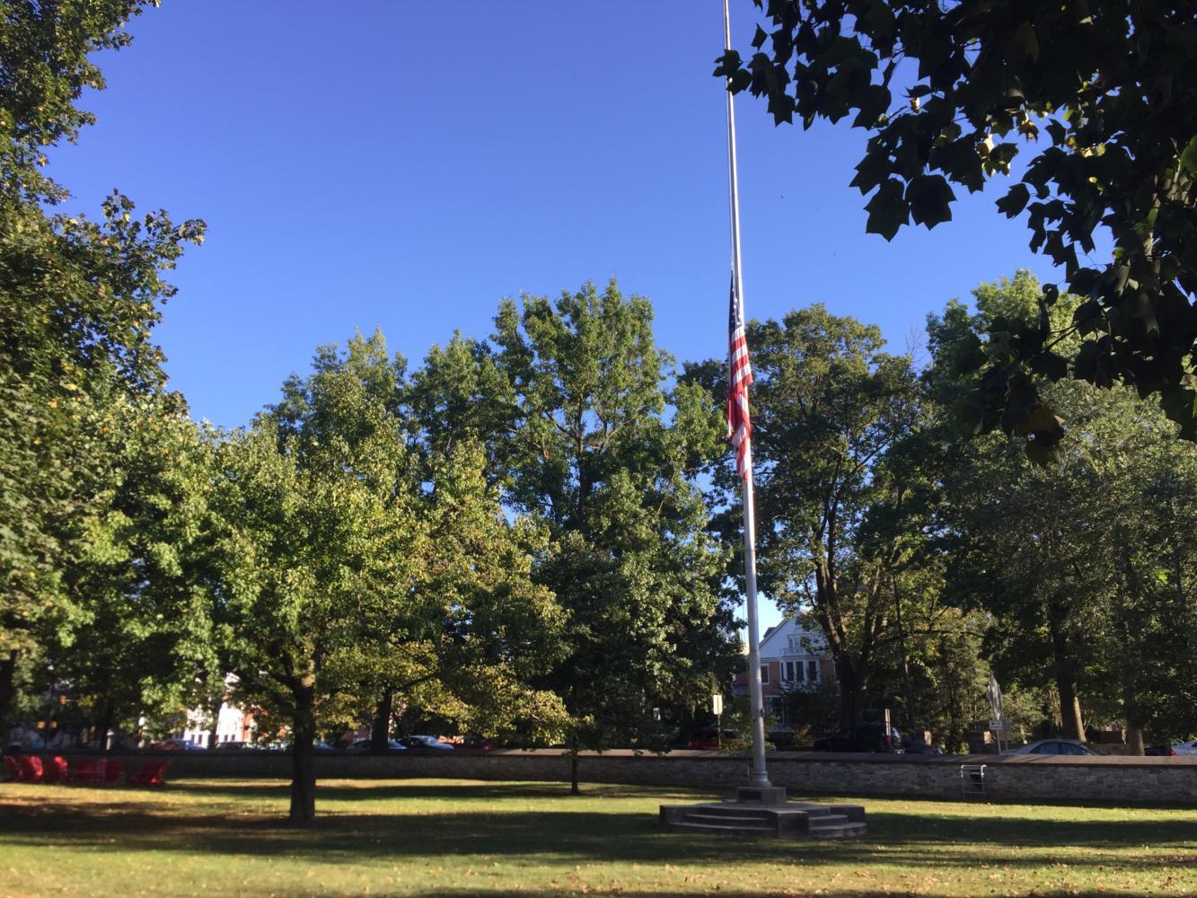 Dickinson's flag flew at half-staff on Oct. 2.