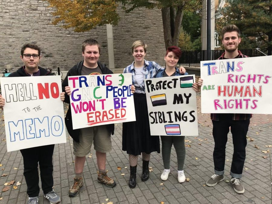 """""""We Will Not Be Erased"""" LGBTQ+ Community Demonstrates for Transgender and Non-Binary Rights"""