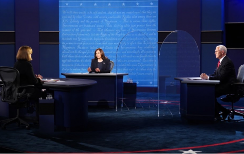 Left to Right: Moderator Susan Page, Senator Harris, and Vice President Pence at the 2020 Vice-Presidential Debate. Courtesy of the New York Times.