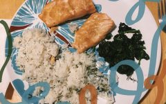 Salmon, rice, and spinach. Photo courtesy of Rebecca Agababian.