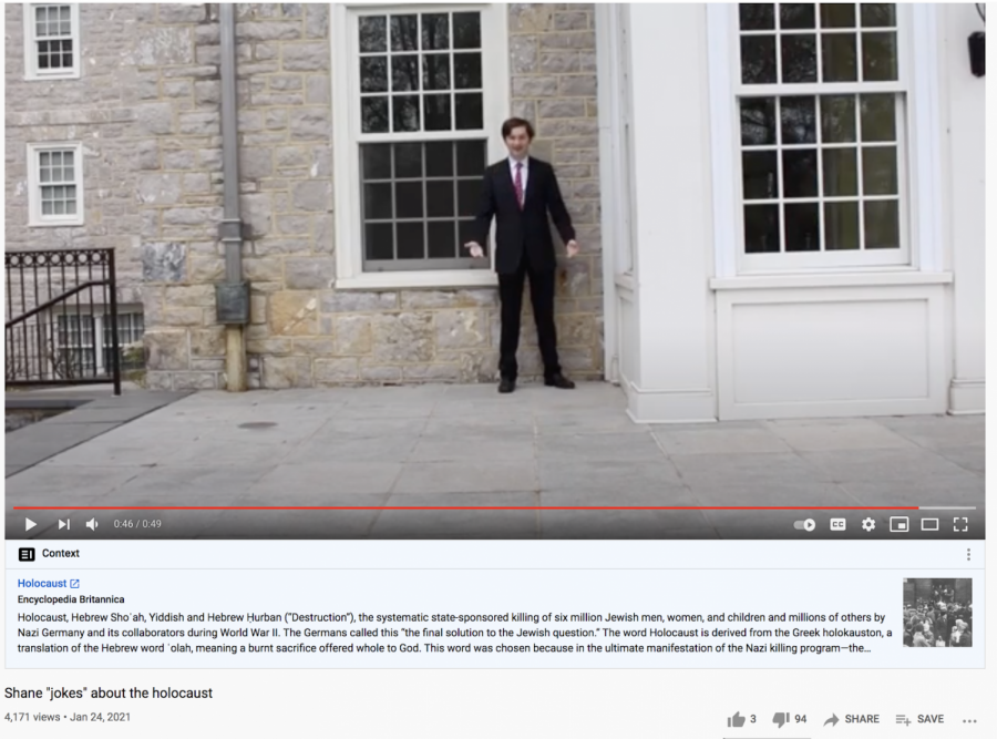 A screenshot of the video, which features Shuma the suit with a Carlisle High School Senior behind the camera, according to the video's description.
