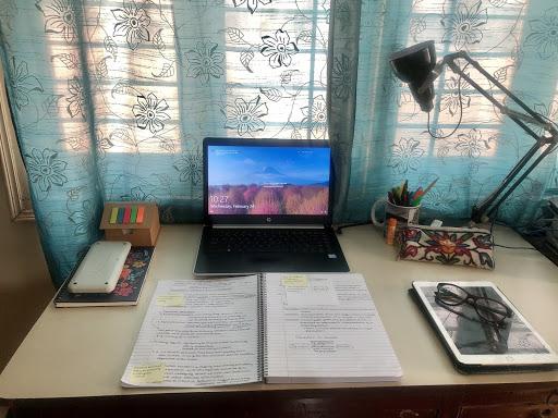 Students have set up workspaces at home. Photo courtesy of Krisha Mehta