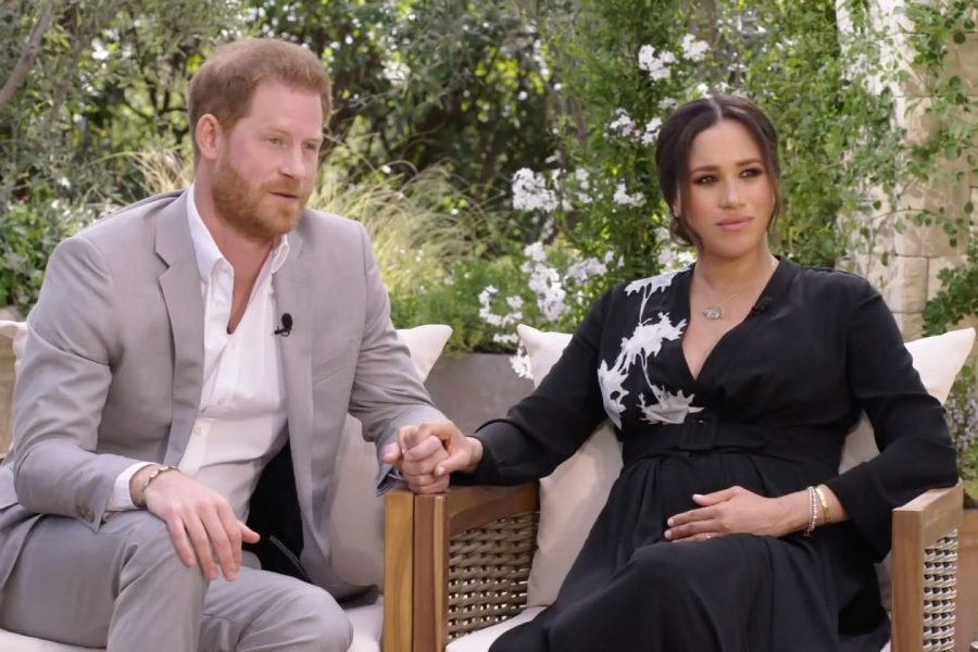 Left+to+right%3A+Prince+Harry%2C+Moderator+Oprah+Winfrey%2C+and+Duchess+Meghan+Markle+at+a+CBS+Primetime+Special+with+Oprah.+Photo+courtesy+of+The+Wall+Street+Journal.++