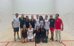 The squash team, with Fayyaz pictured on the top row, second from right. Photo courtesy of Fayyaz.