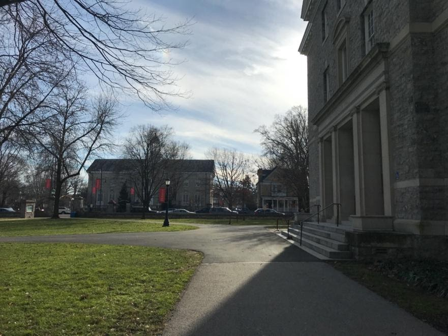 A spot where students and faculty once convened, the front porch of Bosler Hall–as well as the building itself–remains relatively empty during the spring semester. Photo courtesy of Valerie Kuppek.